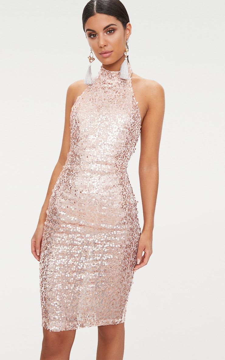 bcbeb375 Rose Gold Sequin High Neck Midi Dress | What Goes in my DREAM CLOSET ...