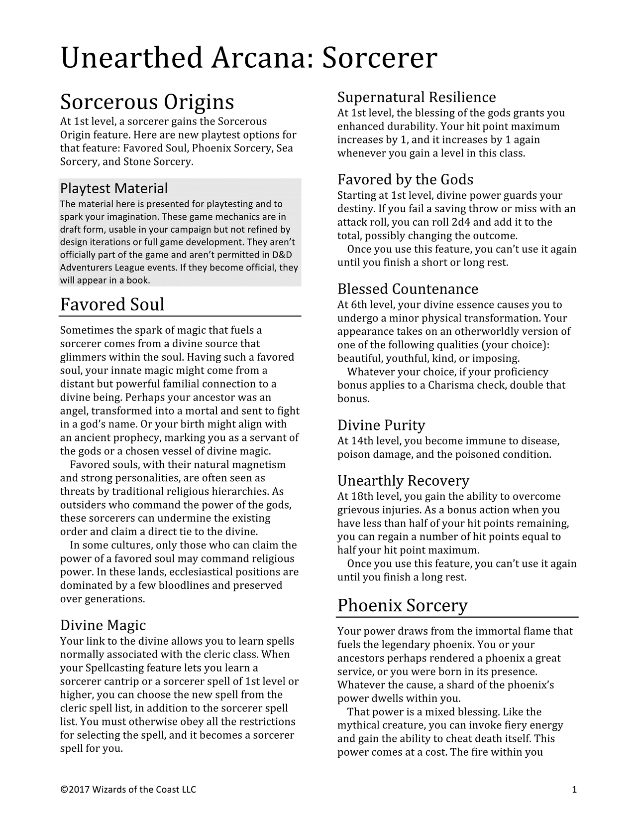 Unearthed Arcana Sorcerer: Favored Soul, Phoenix, Sea, Stone