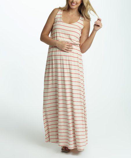 PinkBlush Maternity PinkBlush Beige & Coral Stripe Maternity Maxi Dress | zulily
