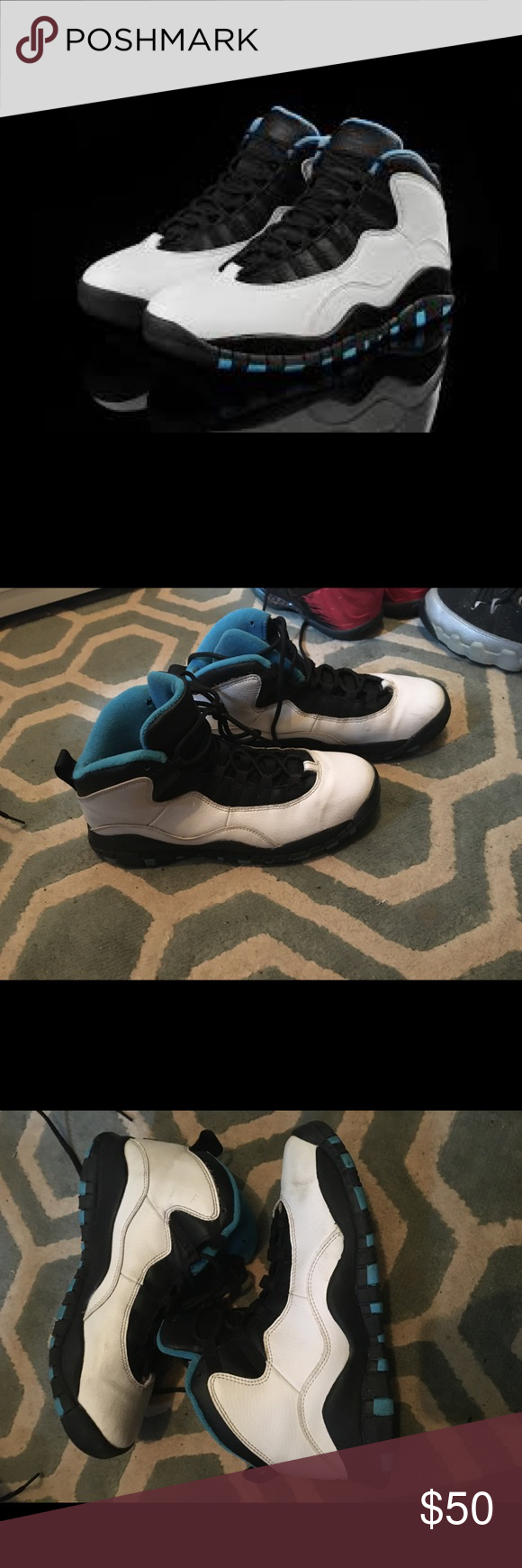 5ccaf96456fab0 Air Jordan 10 white powder blue Air Jordan 10s size 6 men s size 8 women s.  Available in kid size 11c for a mommy and me look Jordan Shoes Sneakers