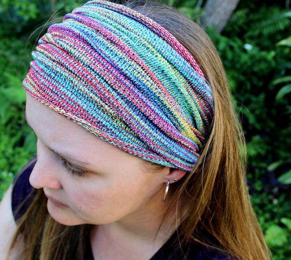EXTRA Wide Rainbow Dreadlock Headband, Dread Accessories, Rainbow ...