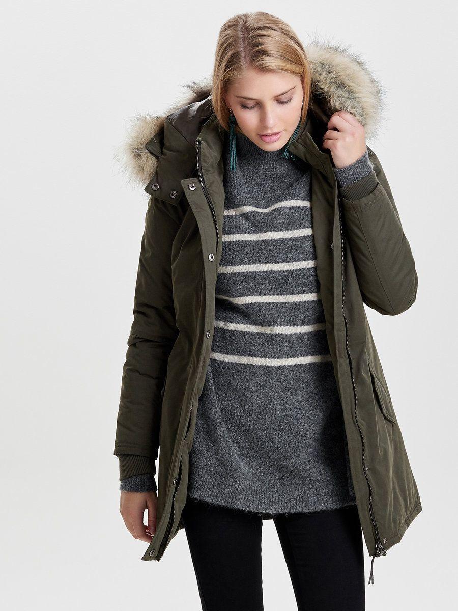 Solid parka jacket Detachable hood Detachable faux fur