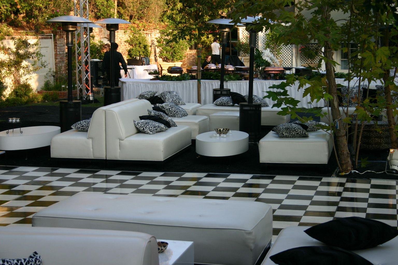 black u0026 white theme backyard event lovely lounge area surrounding