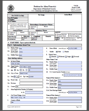 Sample I-129F Form. Filled out with example | Fiance(e) Visa ...