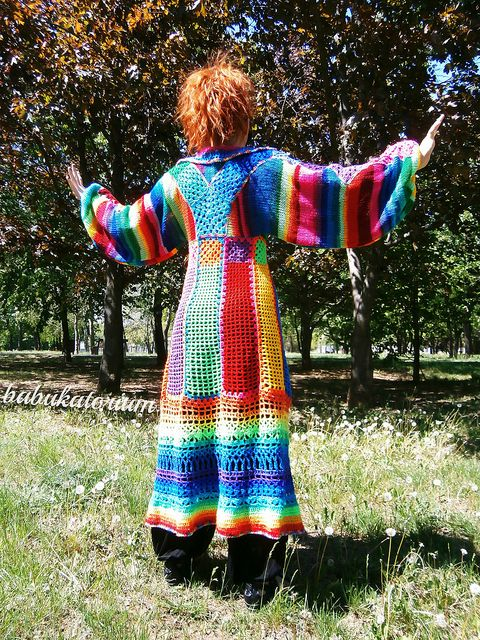 Knitted Crocheted Granny Patchwork Multicolor Multimotif Striped ...