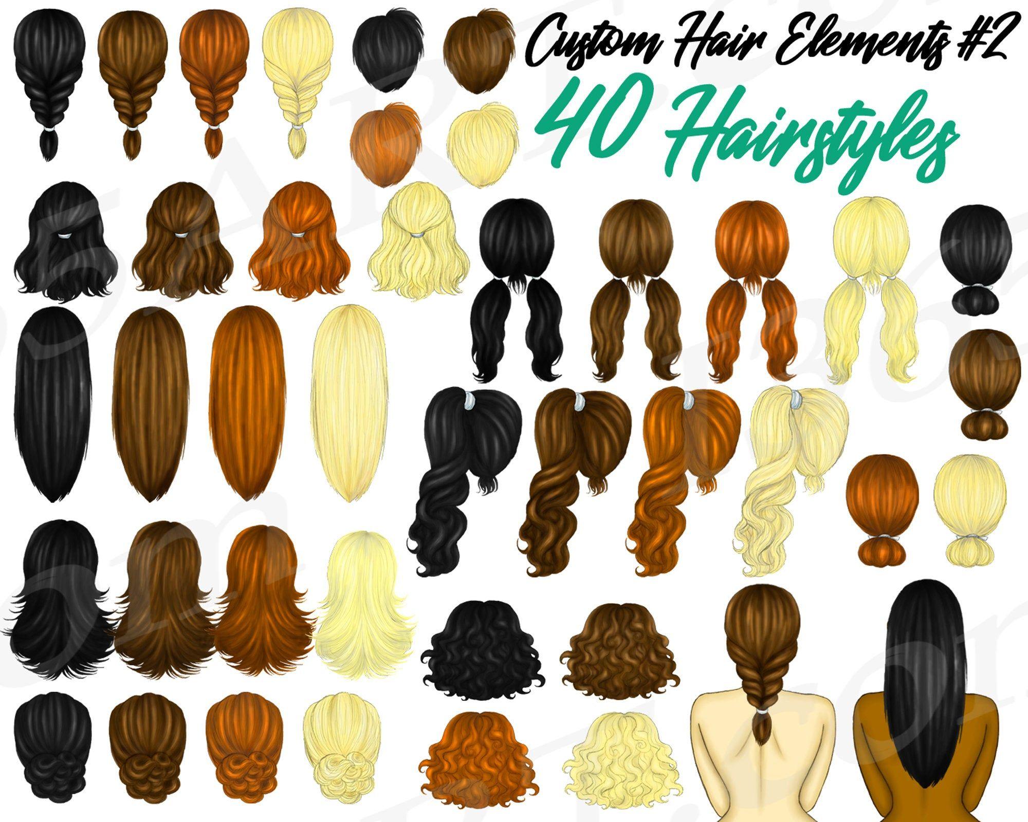 Custom Hairstyles Clipart Hairstyles Basic Hairstyles Etsy In 2020 Basic Hairstyles Hair Clipart Hair Styles