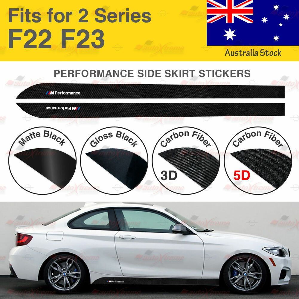 Performance Side Skirt 5D CARBON FIBER Decal Sticker for BMW F22 F23 2 Series US