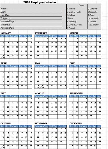 Employee Attendance Calendar Template   Calendar