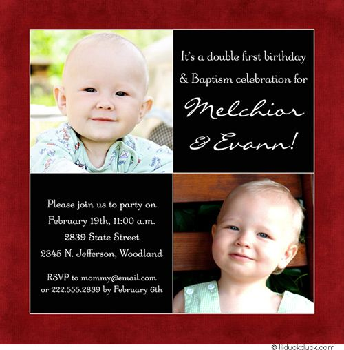 twins birthday invitation card design