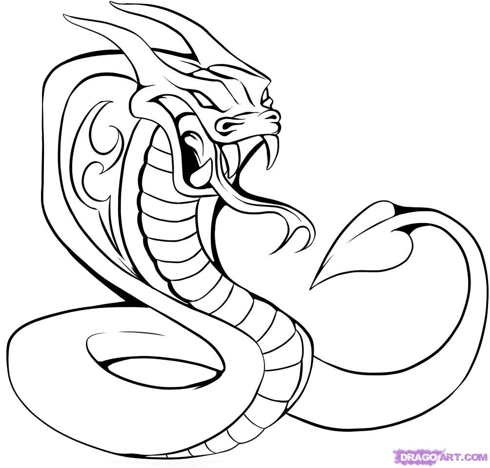 images of cobras | How to Draw a Cobra Tattoo, Step by ...
