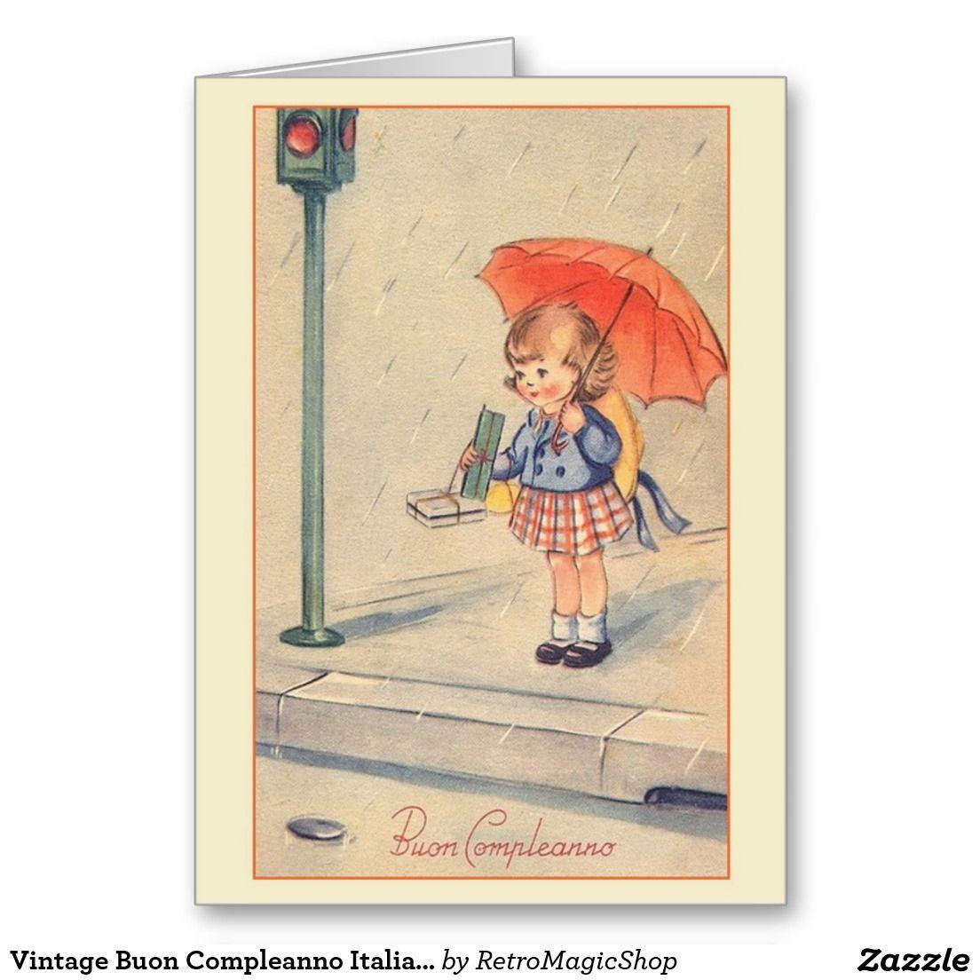 Vintage Buon Compleanno Italian Birthday Card