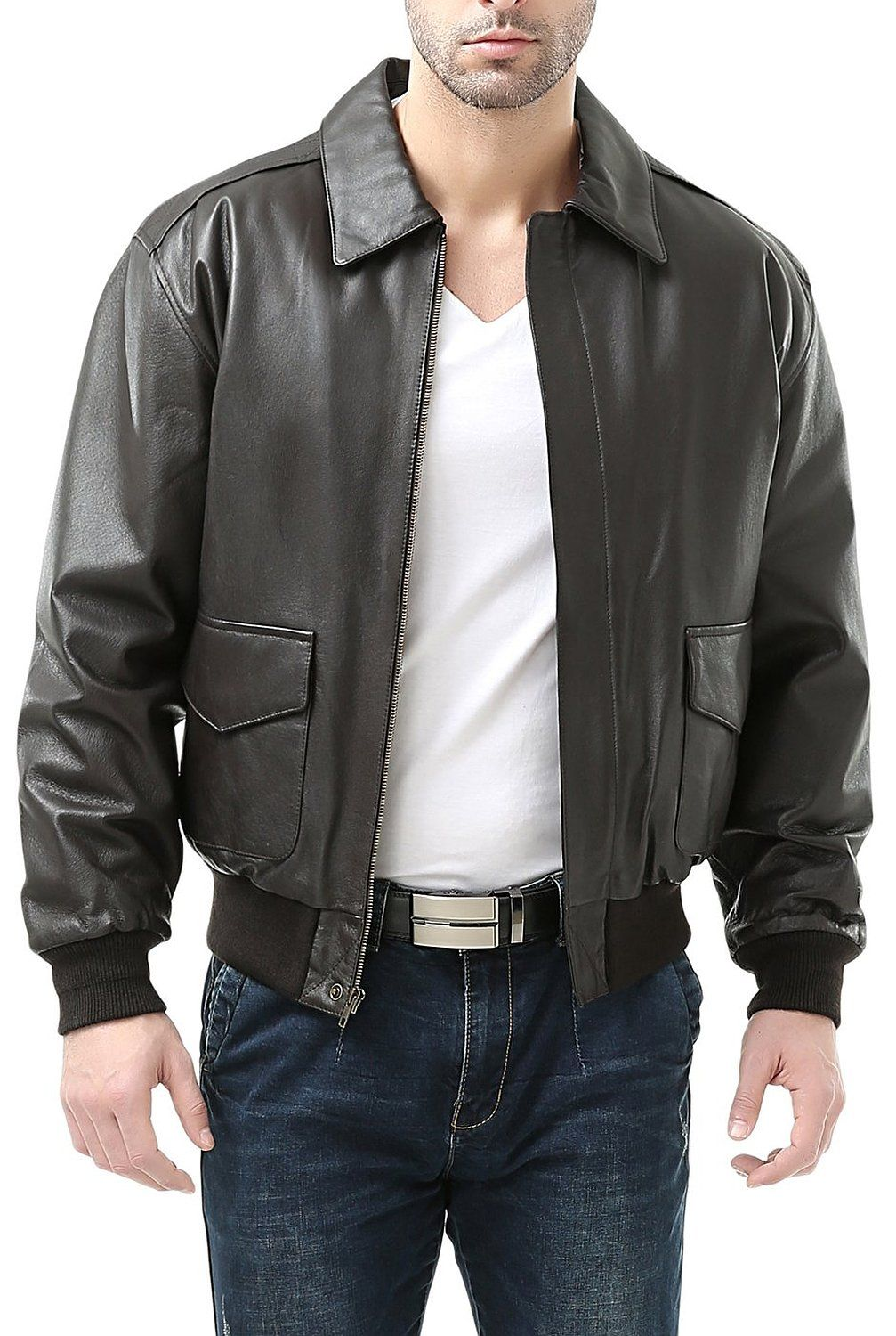 30a50d51c Landing Leathers Men's Air Force A-2 Leather Flight Bomber Jacket at ...