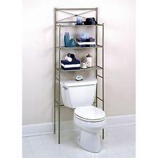Bathroom Storage Cabinet Metal bathroom shelf organizer metal over the toilet rack nickel storage