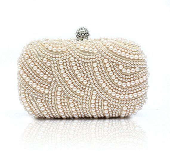 Pearls Beaded Evening Clutch Bag With Shoulder Chain Box Wedding Bridal