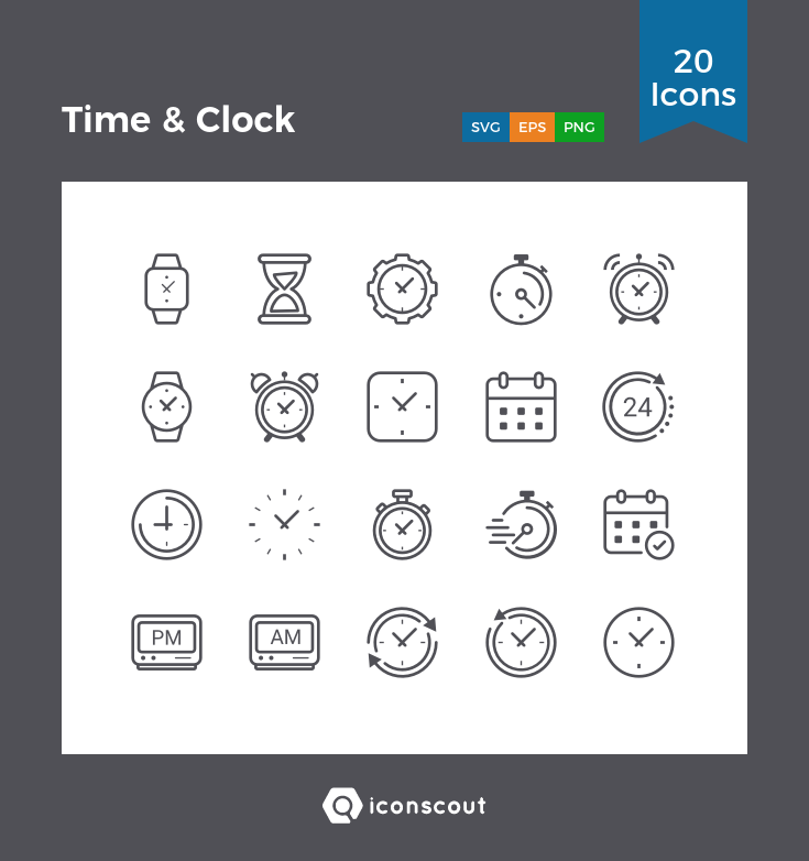 Time & Clock Icon Pack - 20 Solid Icons   Miscellaneous