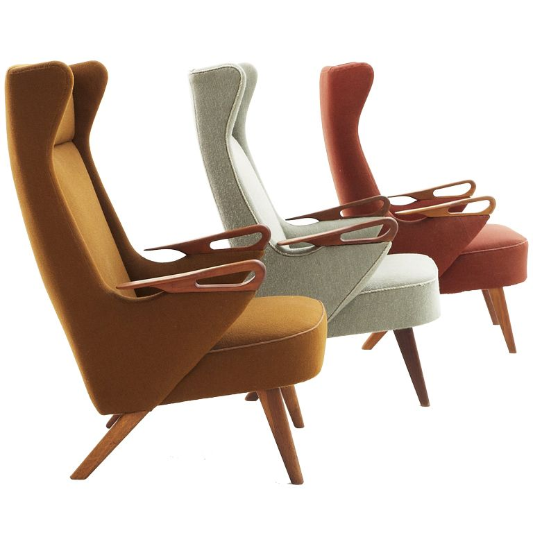 Danish midcentury wingback chairs by Adrian Pearsall 1955