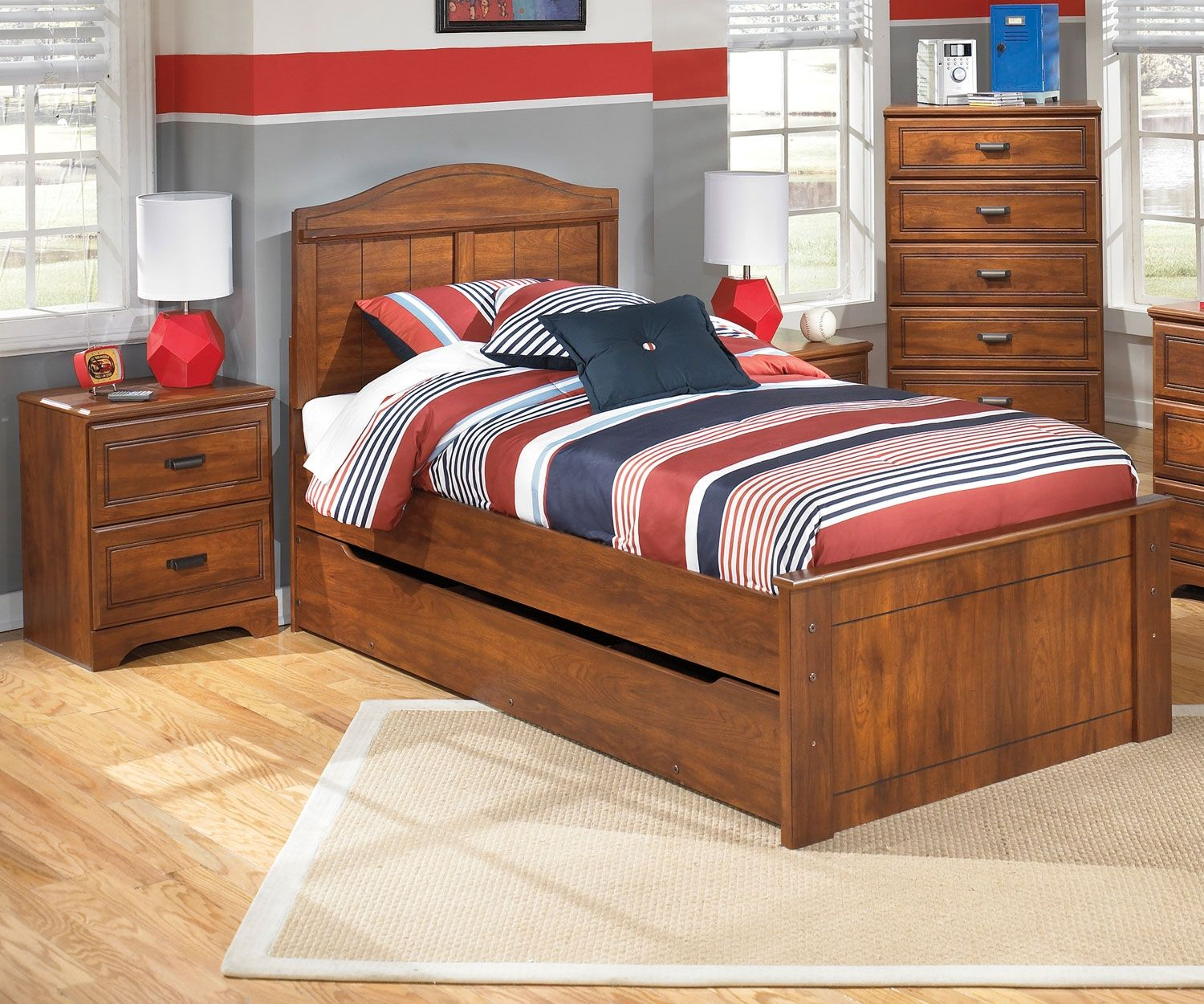 Barchan B228 Twin Size Panel Bed with Trundle Ashley