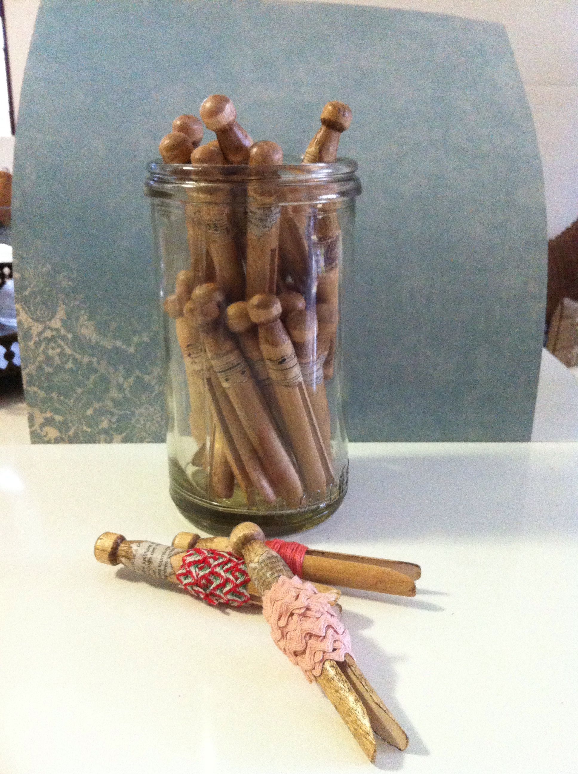 Aged pegs to store your vintage notions, ric rac and lace