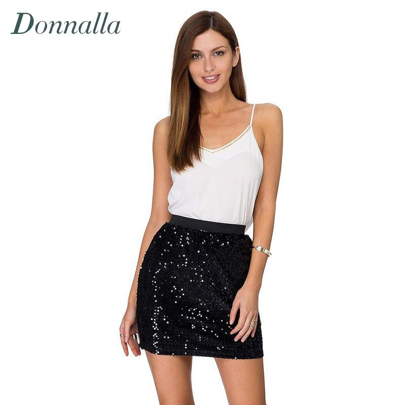 Women Skirt Sexy High Waist Party Glitter Mini Skirt Bodycon Black ...