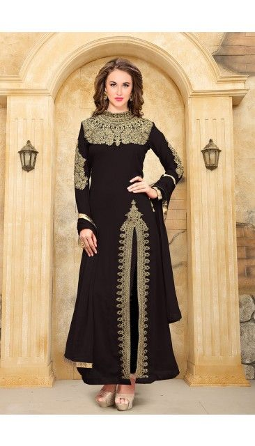Black Faux Georgette Churidar Suit With Dupatta - DMV14930 | Sarah ...