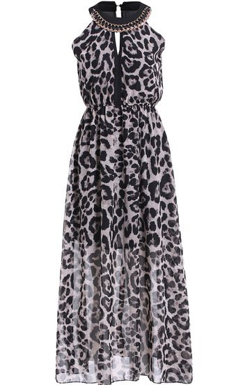 Grey Chain Embellished Leopard Maxi Dress