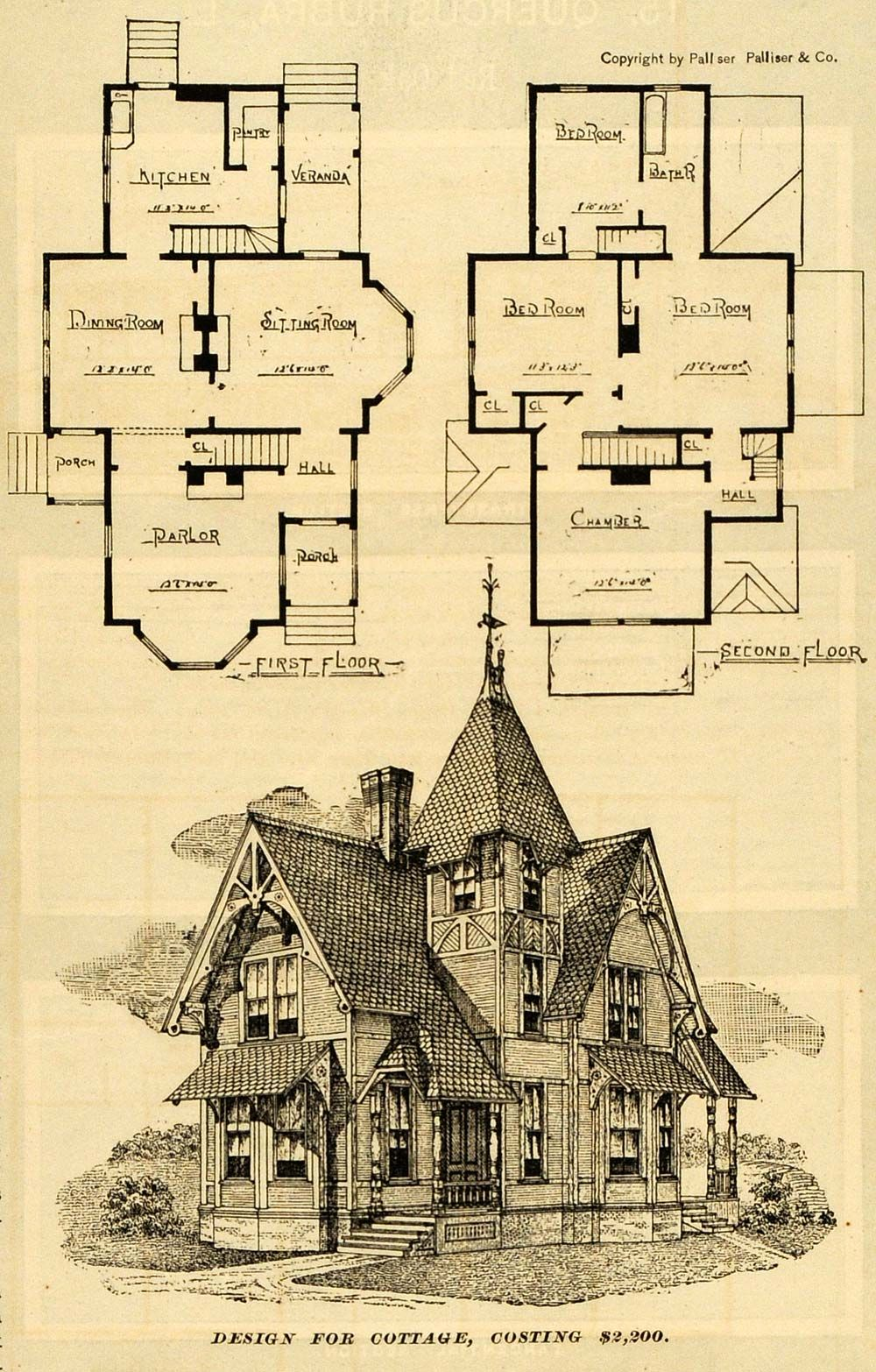 Print Victorian Architecture Cottage House Design Palliser Floor