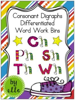 Digraph Differentiated Word Work Bins {Ch, Ph, Sh, Th, Wh} | Kind