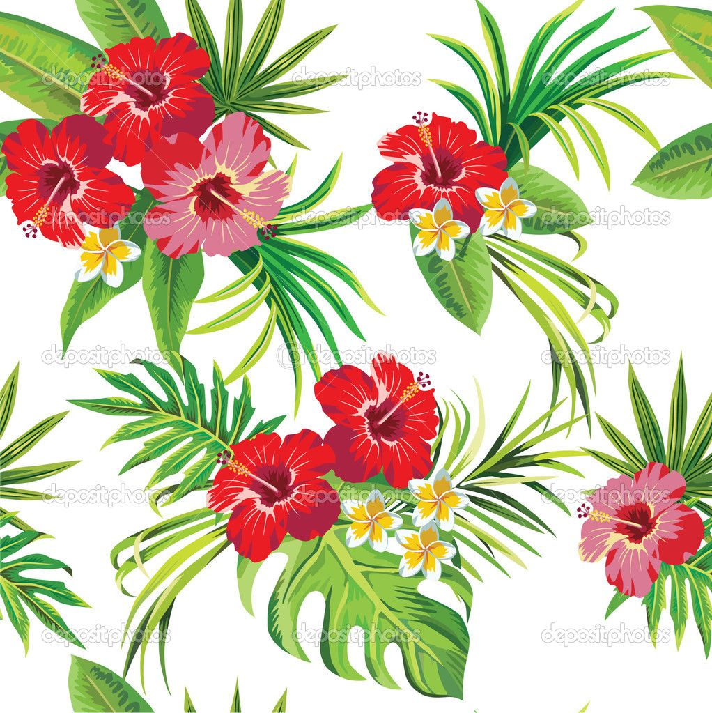Hibiscus and palm leaves floral tropical pattern — Stock ...