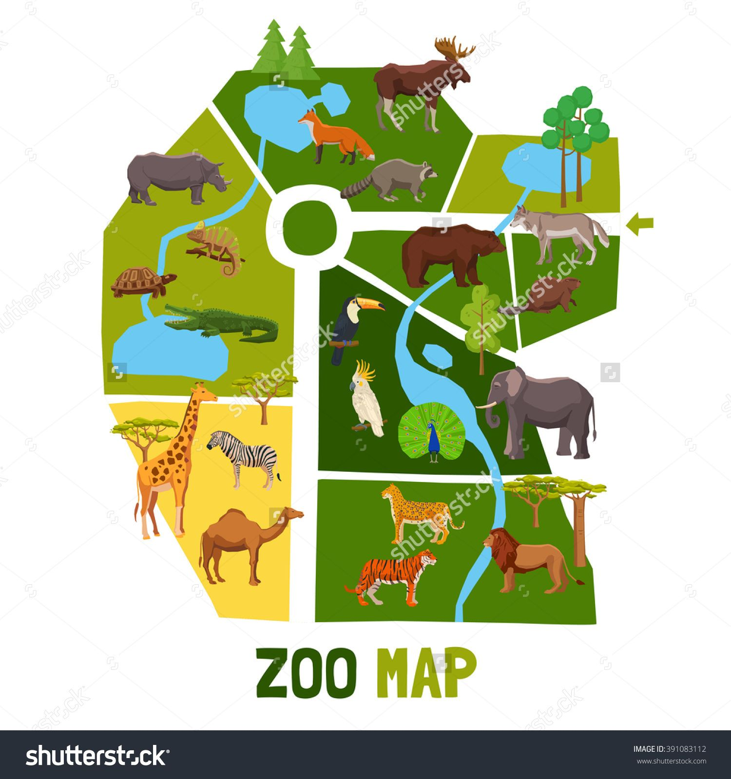 Cartoon zoo map with african animals tropical birds and