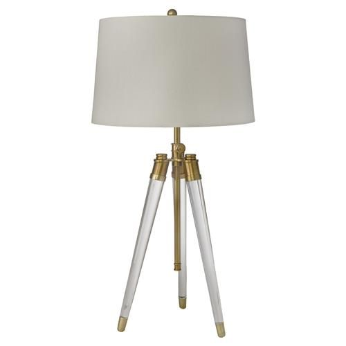 Hubble Modern Classic Acrylic Tripod Brass Table Lamp Lamp Brass Table Lamps Tripod Table Lamp