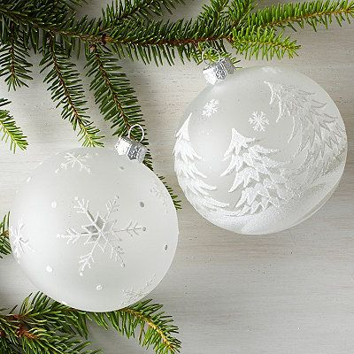 Winter Ball Art Glass Ornaments Christmas Tree Painting Christmas Ornaments White Christmas Ornaments