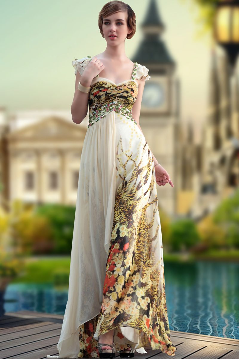 Fashion beads vneck floral printed long banquest party dress
