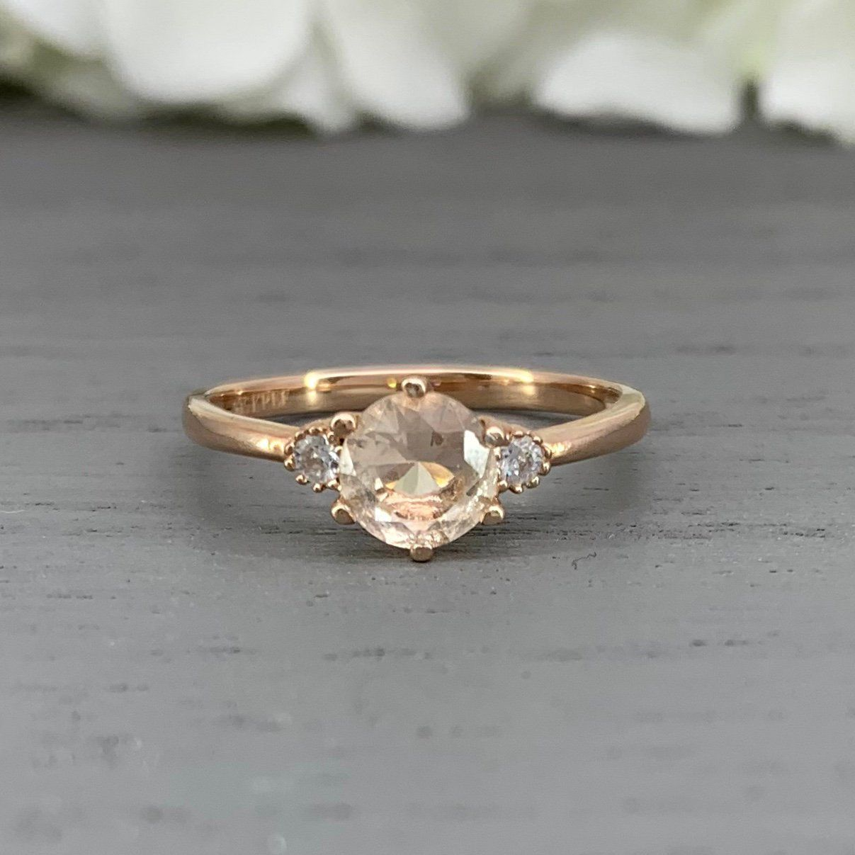 Natural Peach Morganite Ring Art Deco Oval Morganite Diamond Simulated Sterling Silver Promise Engagement Ring