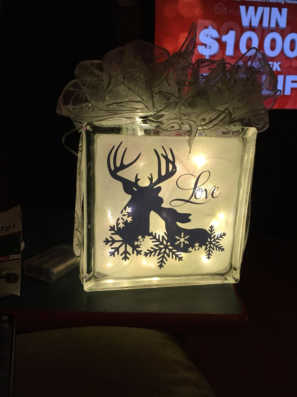 Glass blocks for crafts pre drilled - Lighted Glittered Glass Block Deer Image From Silhouette