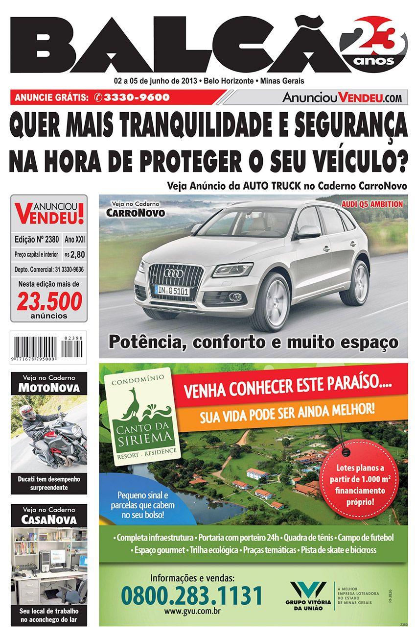 Capa Jornal Balcão em circulação dos dias 02 a 05 de Junho. #casanova #motonova #carronovo #AutoTruck #segurocarro #cantodasiriema #moto #decoração