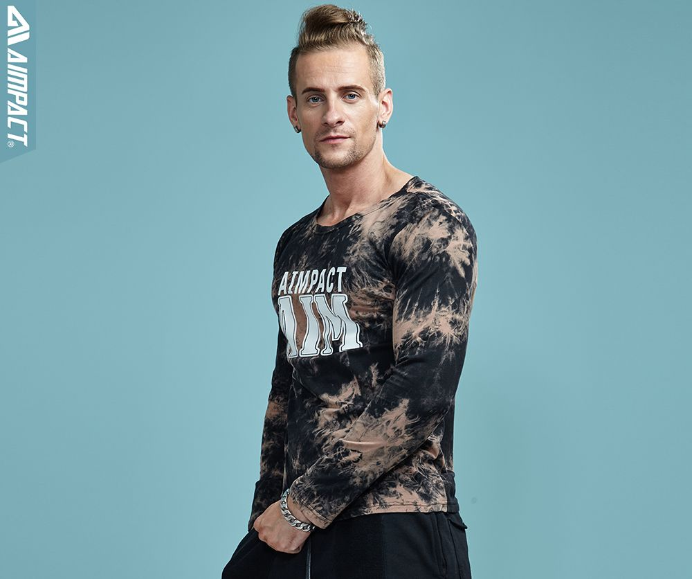 Mens long sleeve tie casual fashion T-shirt