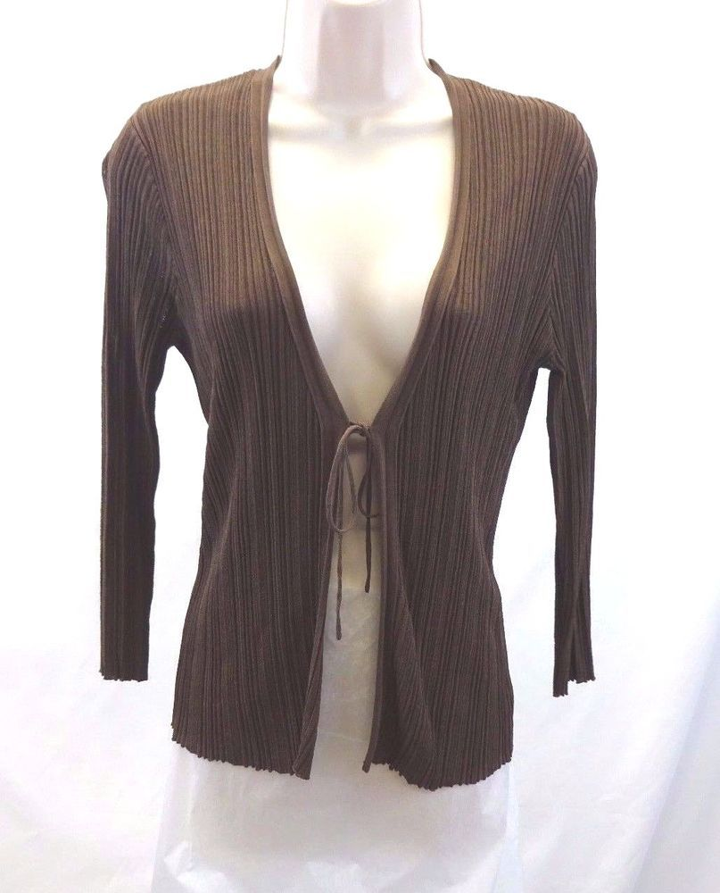 Adrienne Vittadini Brown Cardigan Sweater Tie Front Blouse Women's ...