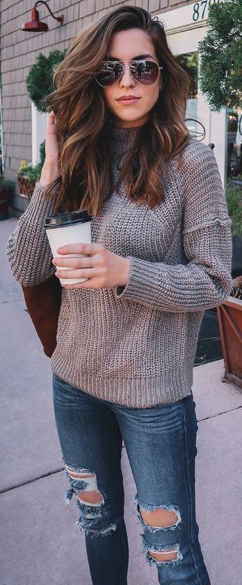 0d693bad42 Obey Barnette Light Brown Knit Sweater