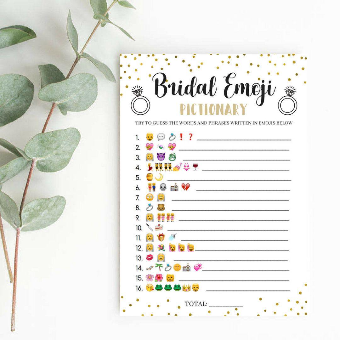 Bridal emoji pictionary game with answers bridal shower