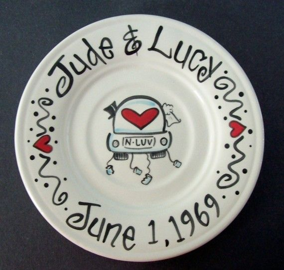 hand-painted wedding plate. love the cans.