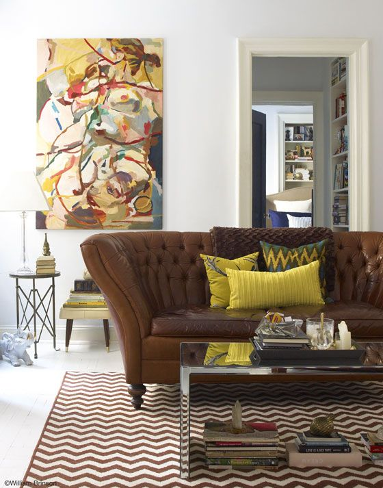 Brown leather couch + chartreuse