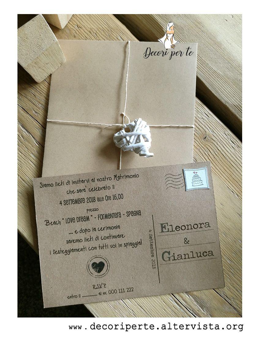 Cartoncino Per Partecipazioni Matrimonio.Partecipazioni Matrimonio Cartolina In Cartoncino Avana