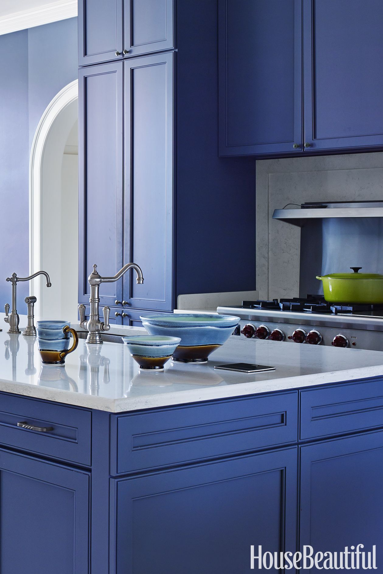 15 Calming Paint Colors That Will Instantly Relax You With Images Blue Kitchen Cabinets Blue Kitchen Walls Cobalt Blue Kitchens