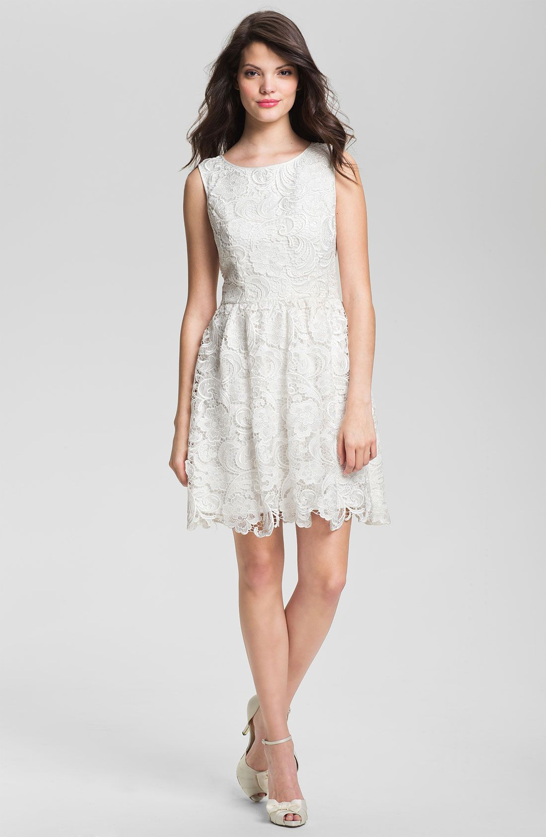 Adrianna papell lace fit u flare dress nordstrom white dresses
