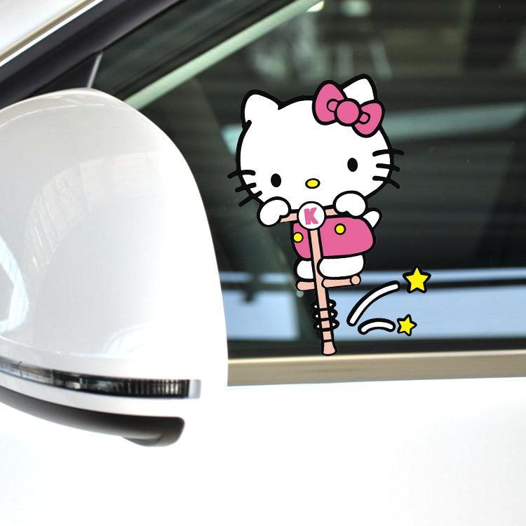 Funny Hello Kitty Car Accessories Bouncing Motion The Whole Body - Hello kitty car decal stickers