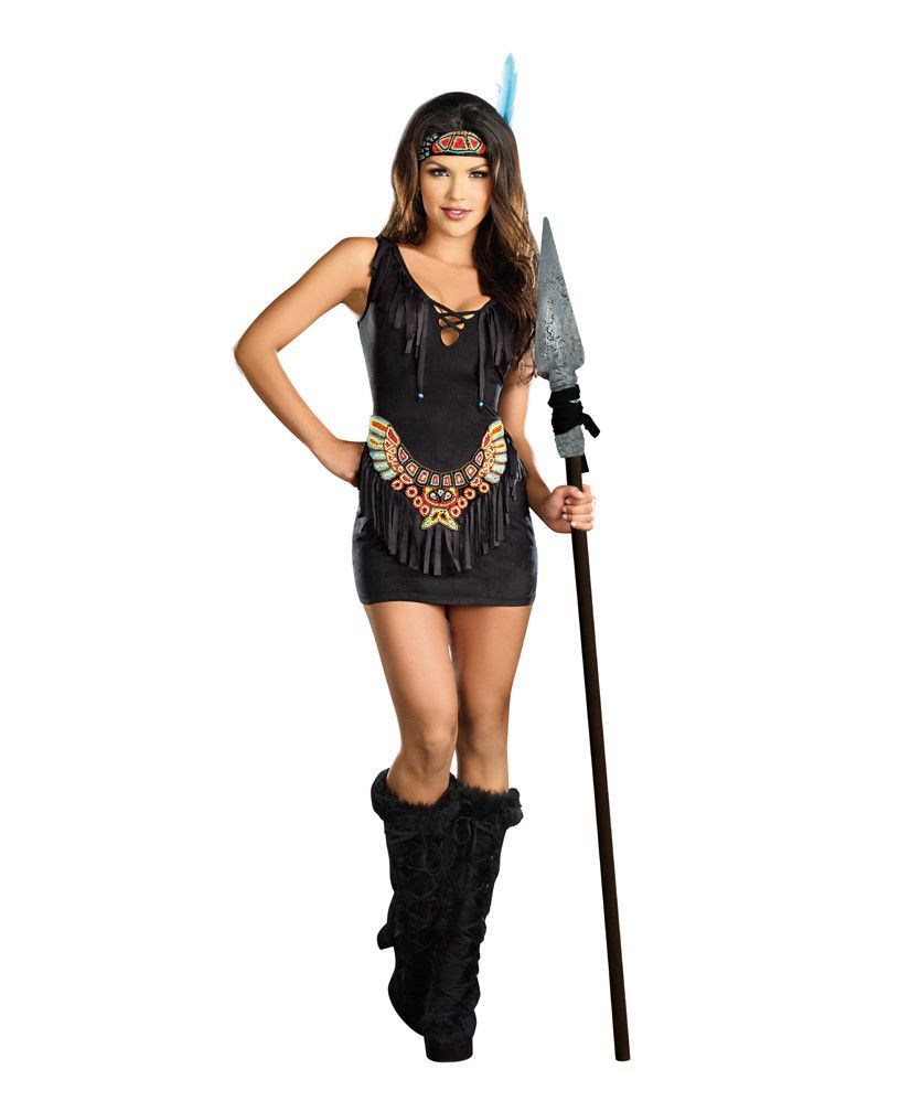 cbd71a2e04d Dreamgirl Chief Hottiebody Adult Costume features a fringed dress with a  matching headpiece with an elastic back. With this costume