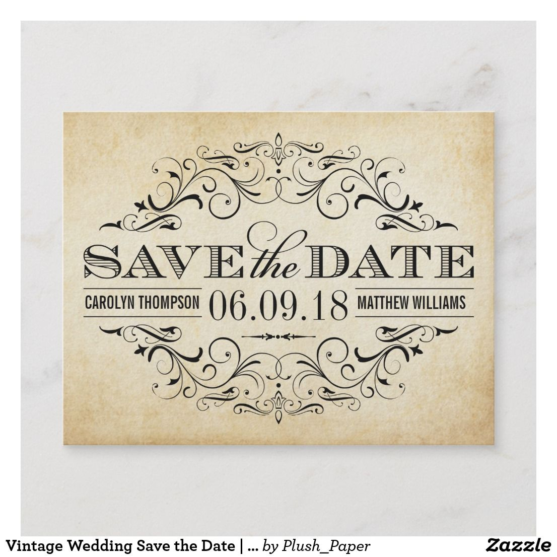 vintage wedding save the date swirl and flourish announcement postcard save the date cardswedding wedding invitationssave the date save the date cards
