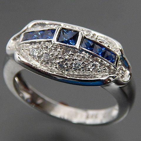 14K WHITE GOLD CEYLON SAPPHIRE & 0.35 CTW DIAMONDS DOMED COCKTAIL RING - SIZE 7 – Gold Stream Boutique
