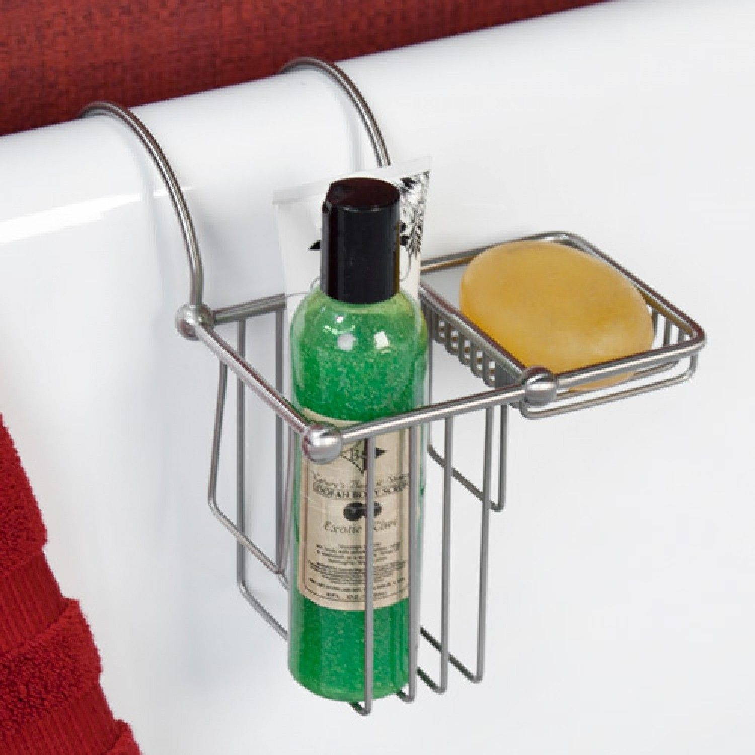 Over The Rim Shampoo Bottle And Soap Basket Accessories Over - Accessories for clawfoot tub