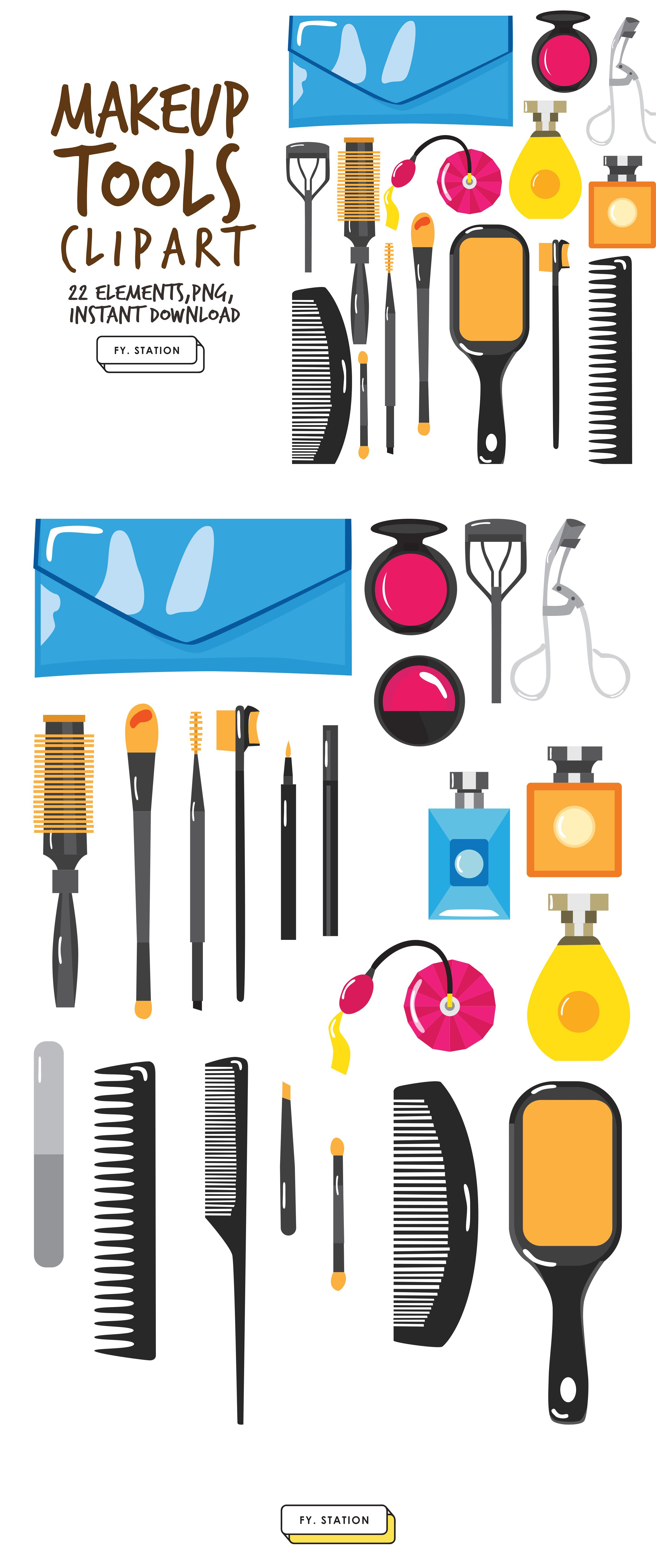 Makeup Tools Clipart Pack 2 Diy Elements Illustration Printable Instant Download Diy Clip Art
